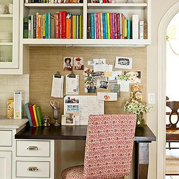 Southern Living - kitchens - kitchen desk, built in desk, kitchen office, built in office, built in kitchen office, open shelving, cookbook storage, cookbook shelf, cookbook shelves, books organized by color, cookbooks, kitchen cookbooks, kitchen cookbook storage, cookbook organization, kitchen cookbook storage, cookbooks organized by color, raffia wallapper, raffia backsplash, kitchen desk backsplash, desk backsplash, wood top desk, dark finish desk, dark finish desk top, tapered legs, desk with tapered legs, desk chair, pink desk chair, white and pink desk chair,