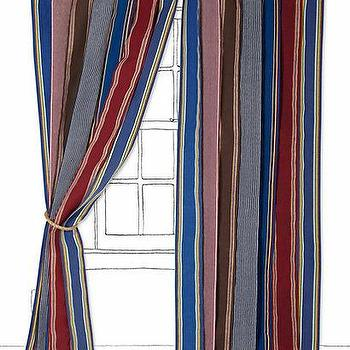 Window Treatments - Vintage Canvas Stripe Curtain I Anthropologie.com - blue and red striped curtains, vintage canvas striped curtains, red and blue striped drapes,