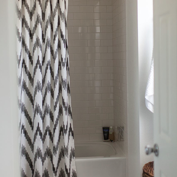 Grey and Scout - bathrooms - bathroom, drop in tub, subway tile, subway tile bathroom, bathroom subway tile, subway shower, subway shower surround, subway tile shower, subway tile shower surround, shower curtain, white and gray shower curtain, chevron shower curtain, white and gray chevron shower curtain, modern shower curtain,