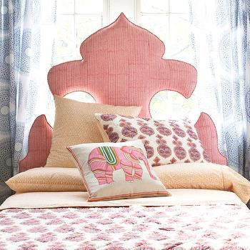Sweet girl's bedroom with bed in placed of window covered in John Robshaw Lapis ...
