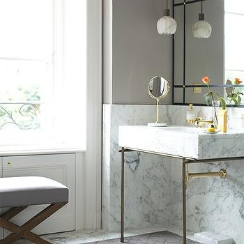 Marble and Brass Washstand, Contemporary, bathroom, Lonny Magazine
