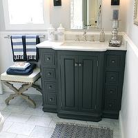 Classic Casual Home - bathrooms: gray walls, gray bathroom walls, venetian mirror, bathroom venetian mirror, venetian bathroom mirror, oil rubbed bronze sconces, black vanity, bathroom vanity, bathroom, black cabinet, black bathroom cabinet, marble countertops, french apothecary jars, chevron bath mat, bath mat, black and white bath mat, black and white chevron bath mat, bathroom ottoman, cream ottoman, gray ottoman, nailhead ottoman, turkish towels, turkish hand towels,