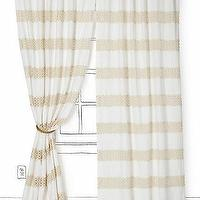 Window Treatments - Crochet Spliced Curtain I Anthropologie.com - linen and crochet drapes, linen and crochet curtains, linen drapes with crochet stripes, curtains with crochet stripes,