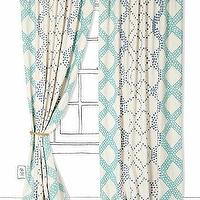 Window Treatments - Ratio Curtain I Anthropologie.com - ivory and blue drapes, ivory and aqua blue drapes, ivory and blue patterned curtains,