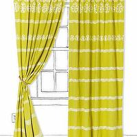 Window Treatments - Dahlia Stripe Curtain I Anthropologie.com - yellow curtains, yellow drapes, chartreuse drapes, chartreuse curtains, chartreuse striped curtains, chartreuse striped drapes,