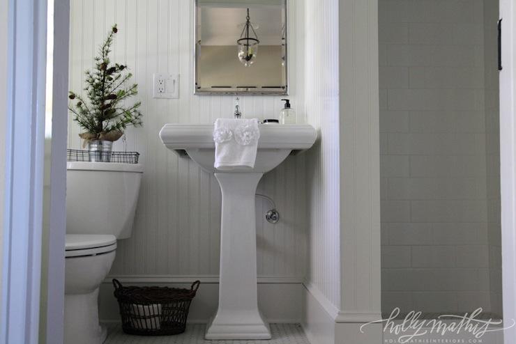 White Beadboard Bathroom Cottage Bathroom Holly Mathis Interiors