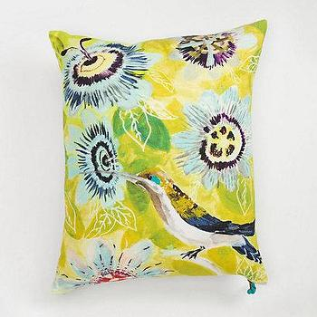 Pillows - Botanical Musings Pillow I Anthropologie.com - hummingbird pillow, yellow floral pillow, bright yellow floral pillow,
