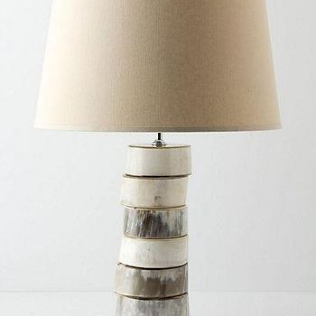 Lighting - Stacked Horn Base I Anthropologie.com - stacked horn lamp, horn lamp, natural horn lamp,