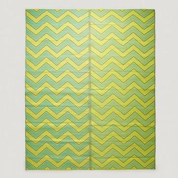 Rugs - Yellow and Green Chevron Rio Foldable Floor Mat | World Market - yellow and green floor mat, yellow and green chevron mat, yellow and green chevron floor mat,