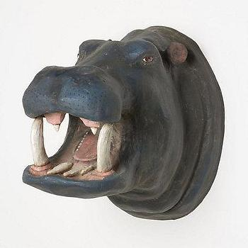 Art/Wall Decor - Smiling Hippo Bust  I Anthropologie.com - papier mache hippo bust, hippo bust, hippo bust wall decor, hippo bust wall sculpture,