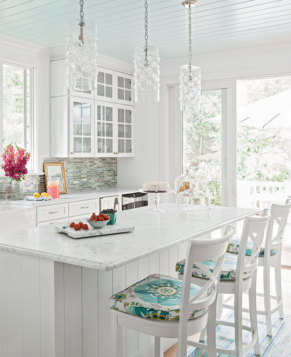 White And Turquoise Kitchen Cottage Kitchen Coastal Living