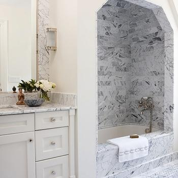Marble Shower Alcove, Transitional, bathroom, Anne Hepfer Designs