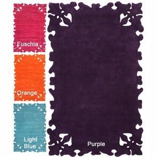 Handmade Luna Moda Carved Purple Rug| Overstock.com