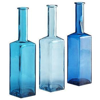 Decor/Accessories - Square Bottles - Blue I Pier 1 - blue glass bottles, recycled blue glass bottles, blue glass square bottles,