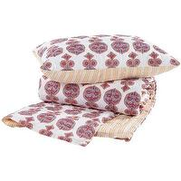 Bedding - John Robshaw Textiles - Danda - Quilts & Shams I John Robshaw - pink and yellow bedding, reversible print bedding, indian print quilt,