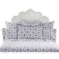 Bedding - John Robshaw Textiles - Pipal Indigo I John Robshaw - indigo and white geometric bedding, indigo blue and white indian print bedding, geometric blue and white bedding,