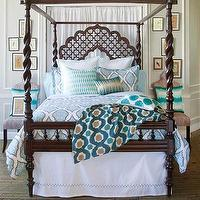 Bedding - John Robshaw Textiles - Mali - Bed Collections I John Robshaw - moorish bedding, moroccan bedding, block print bedding, turquoise block print bedding,