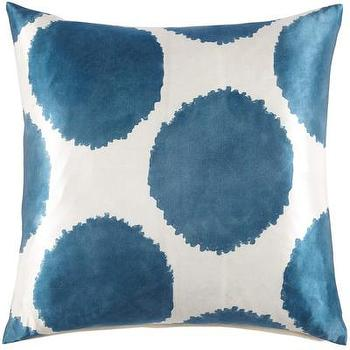 Pillows - John Robshaw Textiles - Angel - Puffer - Pillows I John Robshaw - blue and white hand blocked pillow, indian hand blocked pillow, white and blue polka dot pillow,