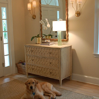 Things That Inspire - entrances/foyers - Benjamin Moore - Pale Almond - almond walls, almond paint, almond paint color, tan walls, tan foyer walls, gold mirror, foyer, foyer, foyer mirror, gold foyer mirror, scalloped mirror, gold scalloped mirror, brass sconce, triple brass sconce, sconce brass sconce, 3 drawer chest, geometric overlay panels, bound  sisal rug, pale almond,
