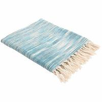 Bedding - John Robshaw Textiles - Jade - Woven Throws I John Robshaw - blue throw, blue fringed throw, aqua blue fringed throw,