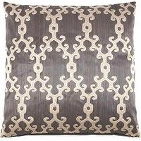 Pillows - John Robshaw Textiles - Cataban - Abaca - Pillows I John Robshaw - gray and ivory patterned pillow, gray pillow with geometric pattern, dark gray and ivory pillow,