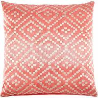 Pillows - John Robshaw Textiles - Alabat - Abaca - Pillows I John Robshaw - coral pink patterned pillow, coral pink geometric print pillow, coral geometric pillow,