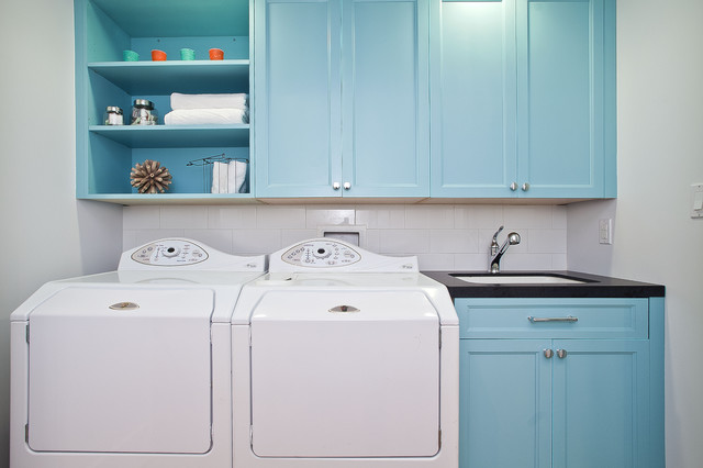 Turquoise Blue Cabinets Contemporary Laundry Room