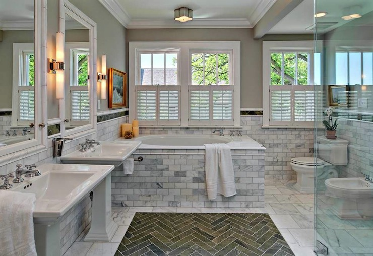 His and Her Pedestal Sinks, Transitional, bathroom, Rubble Tile
