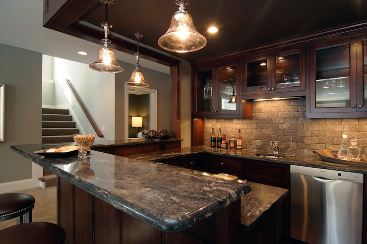 Basement Wet Bar - Traditional - basement - Rubble Tile