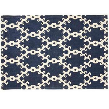 Rugs - John Robshaw Textiles - Totem - Rugs I John Robshaw - navy and white dhurrie rug, indian dhurrie rug, navy blue and white geometric rug,