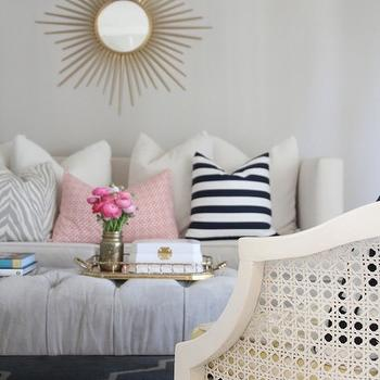 346 Living - living rooms - gold mirror, gold sunburst mirror, martha stewart mirror, home depot mirror, home depot sunburst mirror, high back sofa, zebra pillow, zebra print pillow, white and gray zebra pillow, fretwork pillow, coral pillow, coral fretwork pillow, caitlin wilson pillow, striped pillow, black and white pillow, black and white striped pillow, overstock rug, moroccan tile rug, moroccan rug, blue moroccan rug, blue moorish tile rug, blue gray moroccan rug, overstock rug, cane chair, white cane chair, ottoman coffee table, ottoman bench, tufted ottoman, velvet ottoman, gray velvet ottoman, gray tufted ottoman, gray velvet tufted ottoman, Martha Stewart Living Wales Metal Antique Gold Framed Mirror, Caitlin Wilson Textiles Coral Fretwork Pillow, Overstock Alliyah Handmade Bluish-Grey New Zealand Blend Wool Rug,