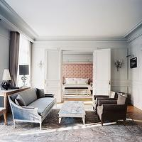 Blue French Settee Contemporary Living Room