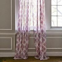 Window Treatments - John Robshaw Textiles - Periwinkle - Windows Sheers I John Robshaw - pink screen printed sheers, indian sheers, indian screen printed sheers, white sheers with pink pattern,