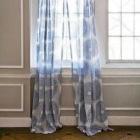 Window Treatments - John Robshaw Textiles - Lapis - Windows Sheers I John Robshaw - blue and white medallion sheers, blue and white screen printed sheers, blue and white patterned cotton sheers,