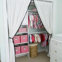 346 Living - nurseries - nursery closet, girl nursery closet, baby girl nursery closet, baby girls closet, baby girls nursery closet, ikea curtains, ikea drapes, ikea panels, pom pom fringe, fringed curtains, fringed drapes, fringed panels, closet curtains, closet panels, closet drapes, clothes rods, pink and gray b askets, nursery baskets,