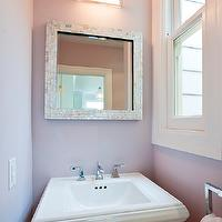 Melissa Lenox - bathrooms - small powder room, lilac powder room, lilac walls, lilac powder room walls, half moon sconce, demilune sconce, geometric sconce, square mirror, capiz mirror, square capiz mirror, mosaic mirror, square mosaic mirror, pedestal sink,