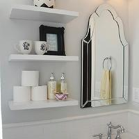 346 Living - bathrooms - Benjamin Moore - Horizon - arched mirror, arch mirror, arched bathroom mirror, arch bathroom mirror, frameless mirror, frameless bathroom mirror, double sconce, bathroom sconce, pedestal sink, yellow hand towel, monogrammed hand towel, chic bathrooms, gray walls, horizon, horizon paint color, gray paint, gray paint colors, gray bathroom walls, gray bathroom paint, gray bathroom paint colors, floating shelves, white floating shelves, chevron canister, nate berkus chevron canister, chevron bucket, nate berkus chevron bucket, black and white chevron canister, black and white chevron bucket, monogrammed mugs, rococo frame, black rococo frame, pink ikat bowl, anthropologie ikat bowl,
