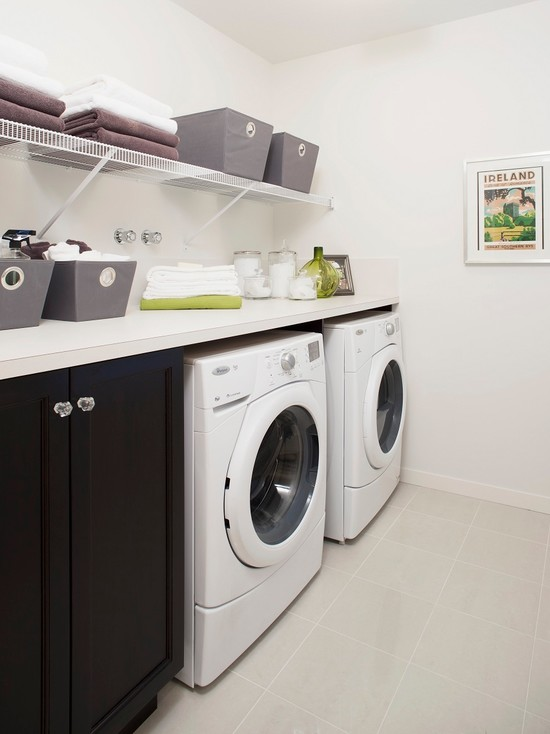 Black laundry room cabinets contemporary laundry room for Open laundry room ideas