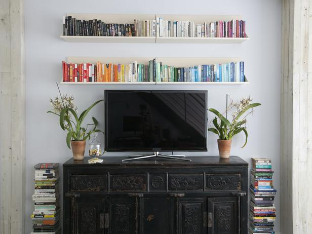 Books Arranged by Color - Eclectic - living room - HGTV