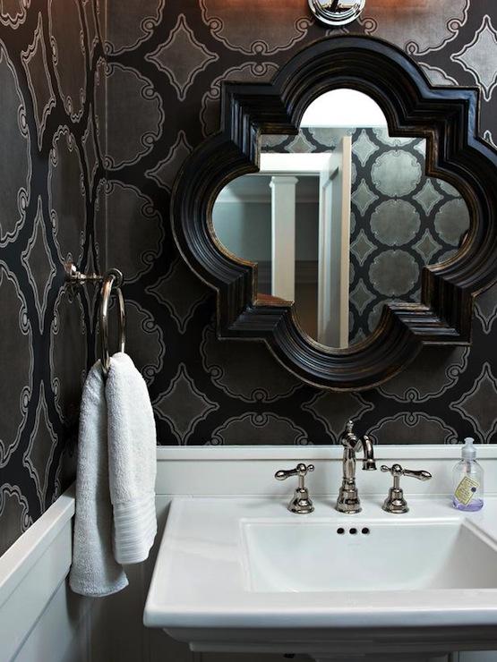 Black quatrefoil mirror contemporary bathroom hgtv for Quatrefoil bathroom decor