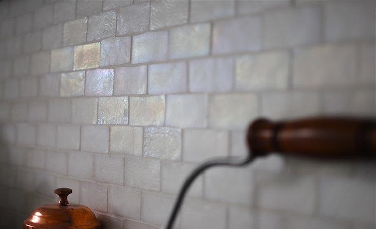 iridescent tile backsplash transitional kitchen