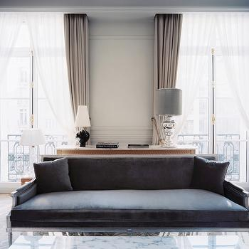 Gray Velvet Settee, French, living room, Lonny Magazine