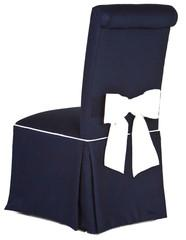 Seating - Bow Back Piper I Society Social - navy blue parsons chair with white bow, navy blue parsons chair with white piping, navy blue skirted parsons chair,