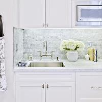 HGTV - kitchens - small kitchen, shaker cabinets, shaker kitchen cabinets, built in microwave, microwave nook, marble countertop, marble counters, mini marble tile, mini marble backsplash, mini marble kitchen backsplash, mini marble subway tile, mini marble subway backsplash, mini marble subway tile backsplash, blanco sink, bridge faucet, bridge kitchen faucet,