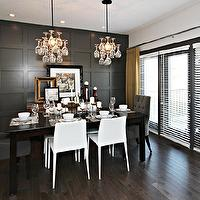Sabal Homes - dining rooms - yellow and gray dining room, gray and yellow dining room, full wall wainscoting, wall of wainscoting, floor to ceiling wainscoting, gray wainscoting, dark gray wainscoting, gray full wall wainscoting, gray floor to ceiling wainscoting, dining room wainscoting, wine glass chandelier, wine rack chandelier, espresso dining table, dining table, captain chairs, dining chairs, gray dining chairs, gray tufted dining chairs, gray velvet dining chairs, gray velvet tufted dining chairs, gray captain chairs, gray tufted captain chairs, gray velvet captain chairs, gray velvet tufted captain chairs, modern white chairs, white dining chairs, modern white dining chairs, silk curtains, silk yellow curtains, yellow curtains, yellow drapes, yellow window panels, pinch pleat curtains, yellow pinch pleat curtains,