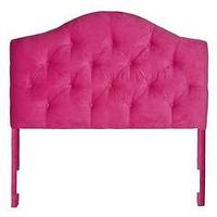 Beds/Headboards - Charlotte Velvet Headboard I Society Social - pink velvet tufted headboard, pink velvet button tufted headboard, arched pink velvet headboard, hot pink button tufted velvet headboard,