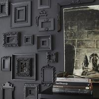 entrances/foyers - black wall, black accent wall, black frames, collection of black frames,  Janet Lee - Amazing black wall covered in collection