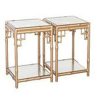 Tables - Beverly Bunching Table I Society Social - faux bamboo gold tables, faux bamboo gold bunching tables, all-weather gold faux bamboo tables,