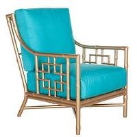 Seating - Beverly Lounge Chair I Society Social - gold faux bamboo lounge chair, gold all-weather faux bamboo chair, gold faux bamboo chair with turquoise cushion,