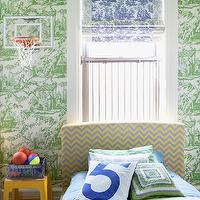 HGTV - boy&#039;s rooms - boys room, boy room, boy bedroom, boys bedroom, toile wallpaper, green toile wallpaper, white and green toile wallpaper, bed in front of window, tein bed in front of window, roman shades, blue roman shades, toile roman shades, blue toile roman shades, white and blue toile roman shades, basketball hoop, boys room basketball hoop, wall mounted basket hoop, wall mount basketball hoop, twin beds, twin headboards, chevron bed, chevron headboard, twin chevron headboard, blue and yellow headboard, boy headboards, boys headboards, blue bedding, green geometric pillow, shared nightstand, boys nightstand,